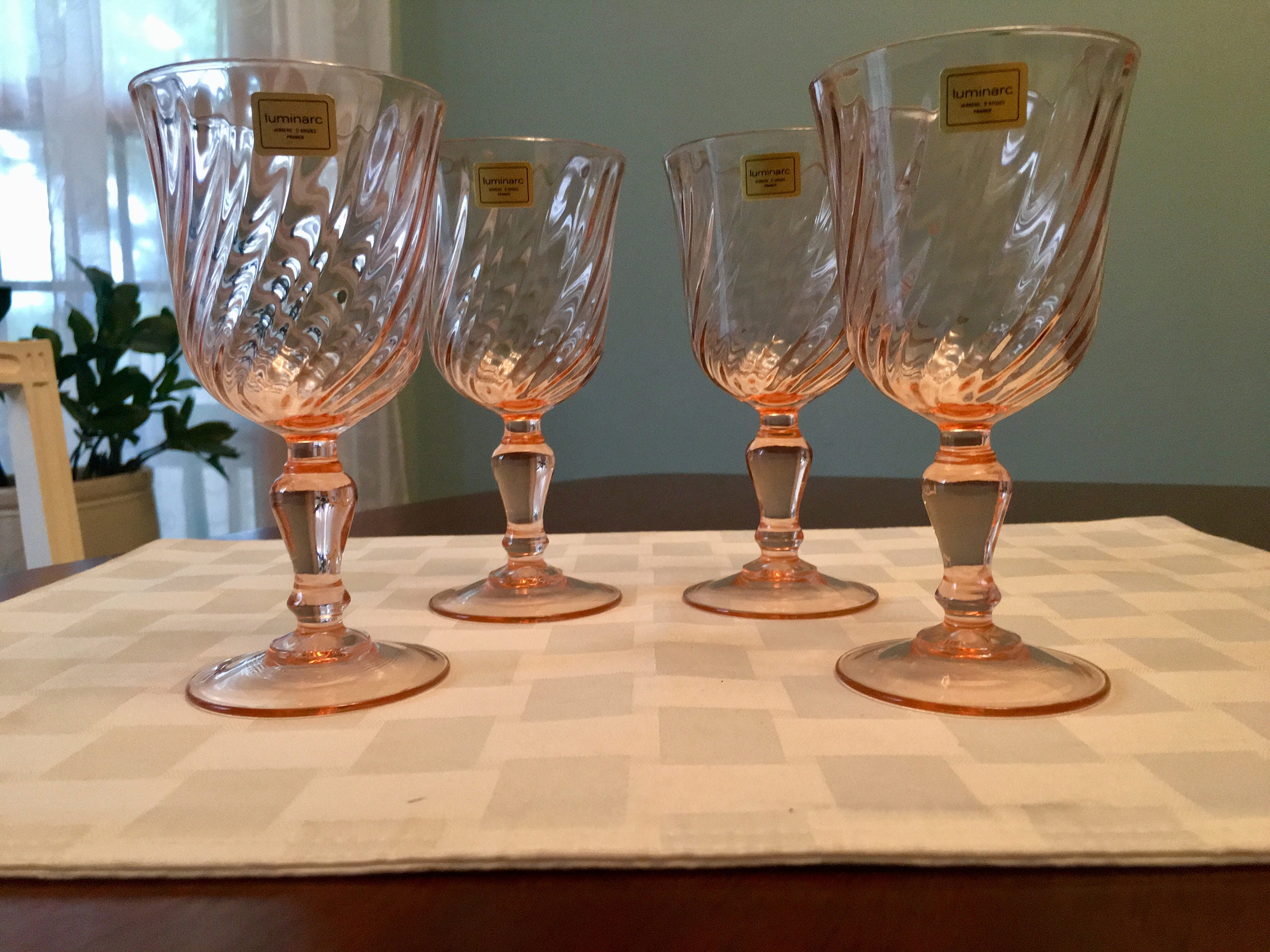 Champagne//Tall Sherbet Rosaline Pink by Cristal D/'Arques-Durand 2 Swirl Optic