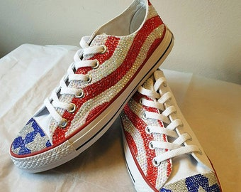 2c476418c60d Custom stars   strips American flag low top converse trainers For kids or  adults