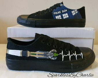 Dr Who Converse shoes, custom Dr Who sneakers, painted Dr Who shoes