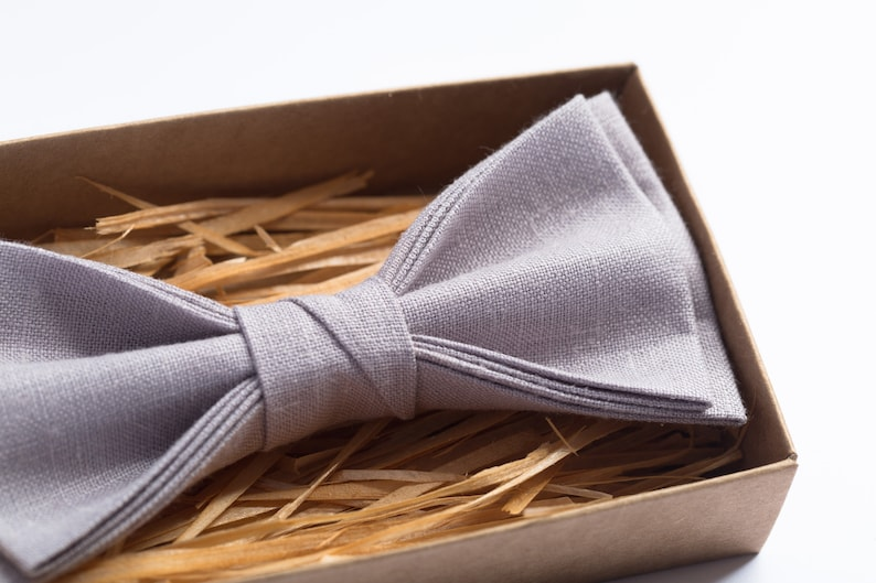 Linen bow tie for boy Mens bow tie for wedding Groomsmen outfit Purple grey bow ties for men