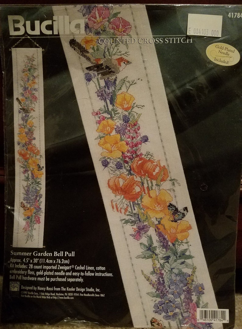 3 Rating Z RARE 1997 Bucilla Spring Garden Floral Cross Stitch Bell Pull packet