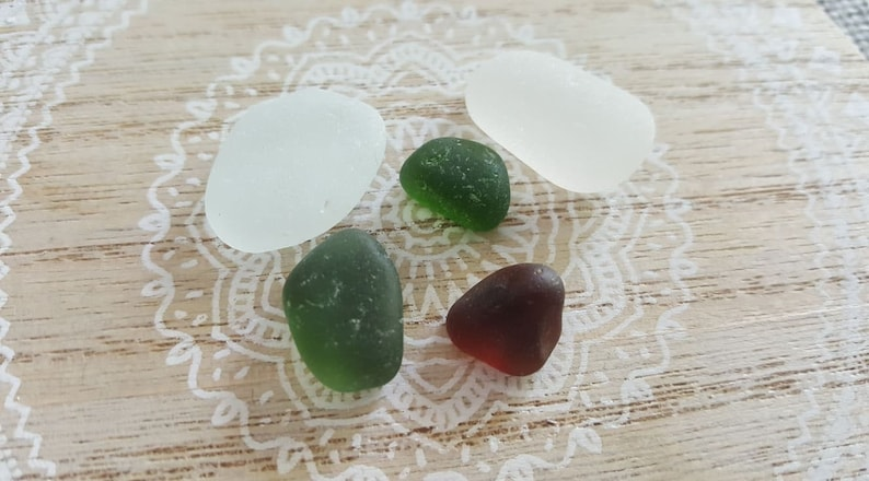 Forest Green and Brown Authentic Sea Glass White 5 Sea Glass Nuggets