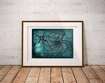 Octopus Print, Downloadable Prints,  drawing of octopus, scientific drawings, antique looking drawings, ocean