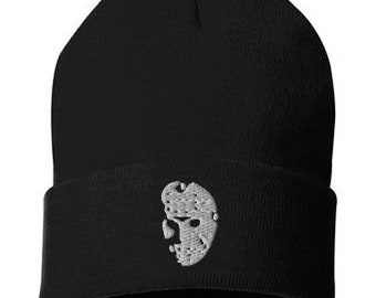 Gothic Skull Beanie Hat Black and White Cuffed Beanie Embroidered Skull Hat Halloween Skull Beanie Spooky Haunted Hat