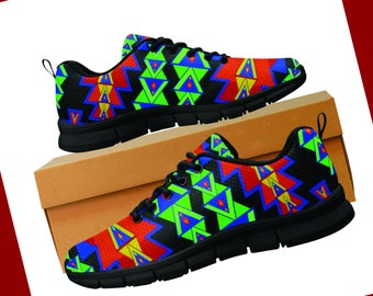 2c1f306840368 Native American Print Woman's Shoes/Sneakers Tribal by Street 101 Designs