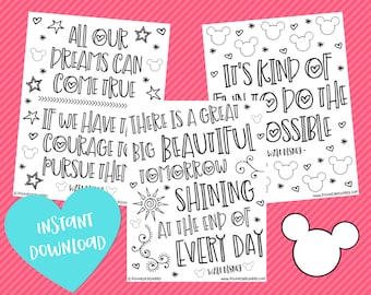 Disney Quote Coloring Pages Disney Coloring Page Mary Etsy