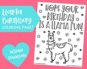 Llama Coloring Page Etsy