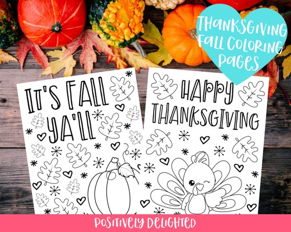 Thanksgiving Fall Coloring Pages  Set of 6  Fall Leaves