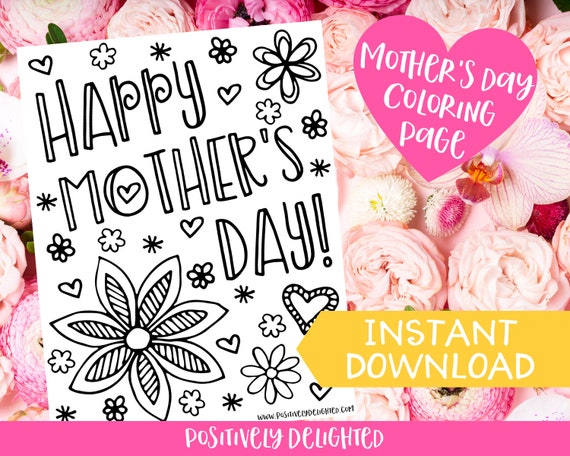 Mother's Day Coloring Page  Mother's Day Craft
