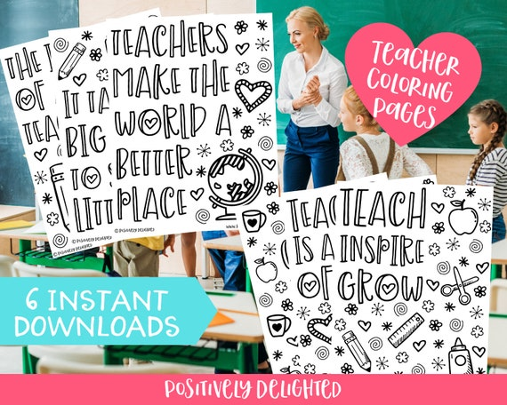 Teacher Coloring Pages Teacher Gift Teacher Appreciation Etsy