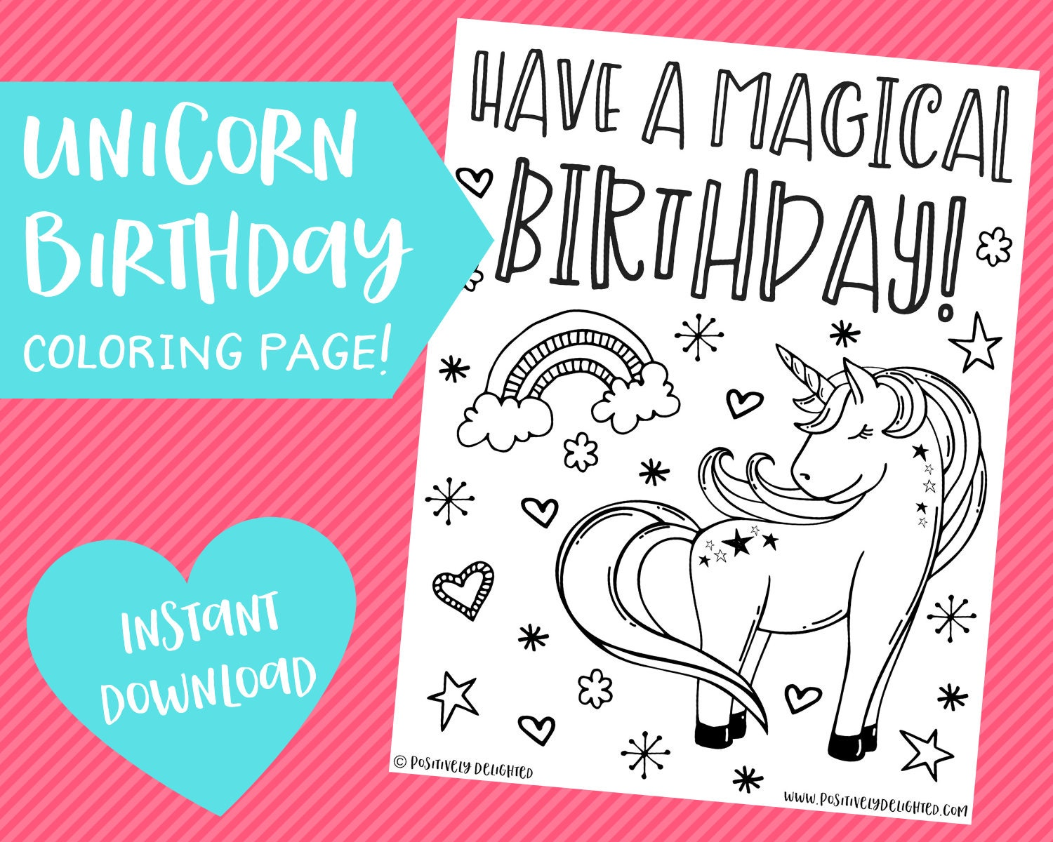 Unicorn Birthday Coloring Page   Unicorn Party   Unicorn Favor   Unicorn  Activity   Printable Coloring Pages   Instant Download PDF