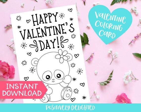 Panda Valentine Coloring Card Printable Valentine S Day Etsy