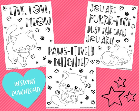 Kitty Cat Coloring Pages Cat Birthday Kitty Cat Party Etsy