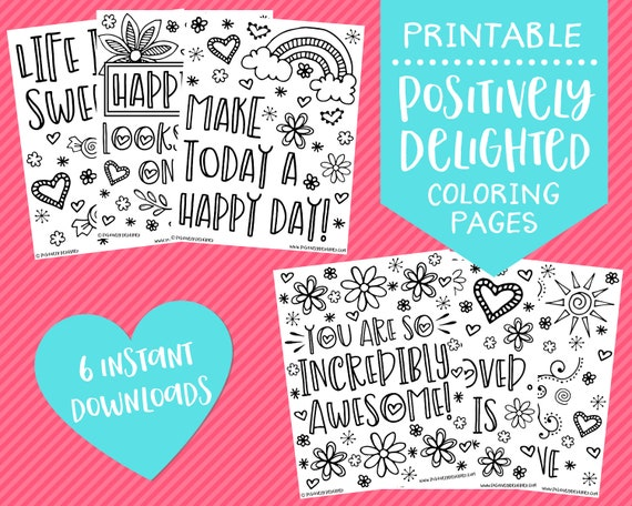 Confidence & Happiness Positive Affirmation Coloring Pages Etsy