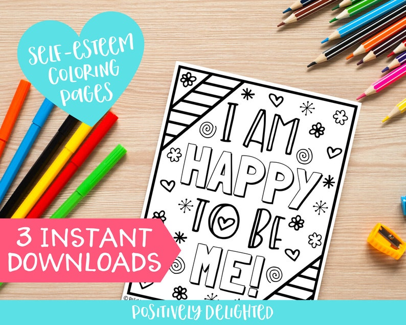 Self-esteem Coloring Pages Printable Self-love Positive | Etsy