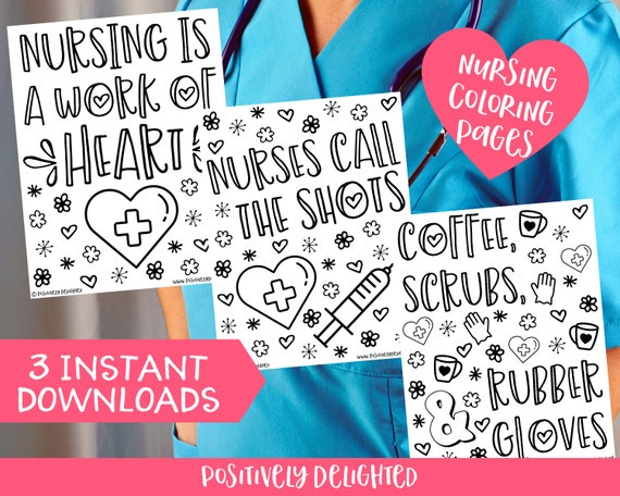Nursing Coloring Pages Nurse Appreciation Nurse Gift Etsy
