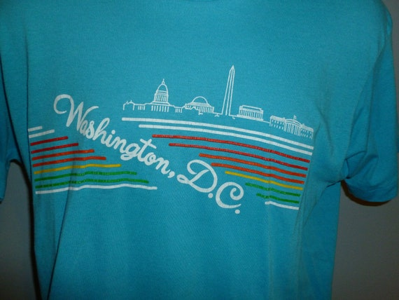 Vintage 1980s Washington DC Rainbow Blue Screen S… - image 2