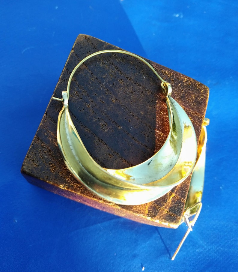 gift for her Large Creole brass earrings