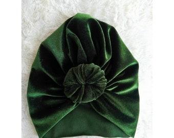 aaf10381f22 Olive Velvet Turban - baby turban hat