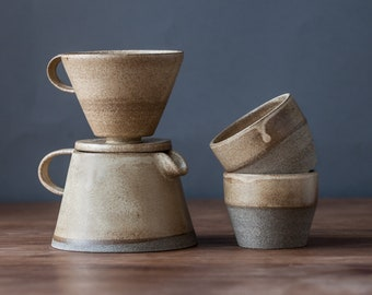 TO ORDER Set of coffee dripper/pour over+coffee jug/pot+two tumblers in beige color, stoneware, handmade ceramic