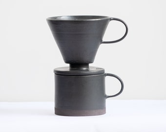 TO ORDER 01-size Hario paper filter Set of 8,5oz/250ml mug and coffee dripper 01-size V60 pour over, stoneware, handmade ceramic