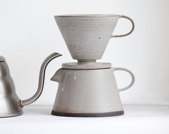TO ORDER Set of coffee dripper/pour over+coffee jug/pot+two tumblers in white&black color, stoneware, handmade ceramic