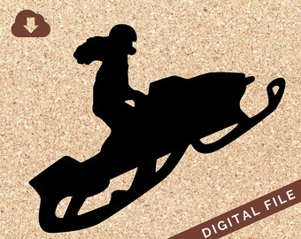 Female Riding Snow Mobile SVG Digital Download PNG JPG Vector Clip Art Tshirt Design, Decals, Art Prints, Decor, Painting