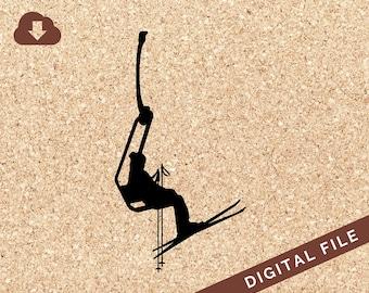 Female Snow Skiier on Chairlift Skis & Poles SVG Digital Download PNG JPG Vector Clip Art Tshirt Design, Decals, Art Prints, Decor, Painting