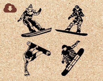 Snowboarding Girls SVG Bundle | Cricut File, PNG Clipart Silhouette | Winter Snow Sports  For Tshirts, Decals, Iron On Transfers