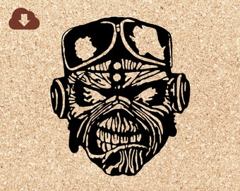 Iron Maiden Aces High SVG File Halloween Decoration Mask or Clipart for Papercraft, Tshirts Decals Scrapbooking Personal Use Only