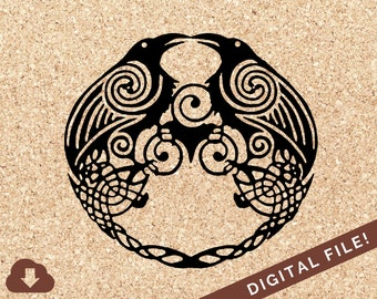 Old Norse Huginn and Muninn Ravens Celtic Knot Silhouette | SVG File For Cricut, Paper Cut, , Decal | PNG JPG Clipart Vector Image