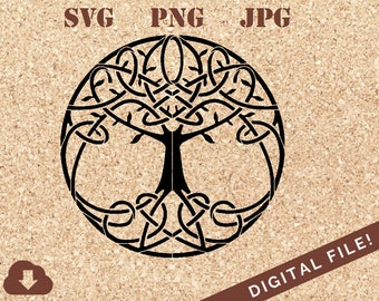 Celtic Tree of Life Stencil SVG Cricut Cut File Clipart Sillhouette For Vinyl Decal, Tshirts, Home Decor, Card Making, Tattoo Inspiration