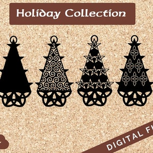 Four Layer Celtic Pentagram and Trinity Knot Christmas Trees SVG PNG JPG for Cricut Cutter or Clipart Commercial and Personal