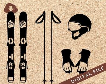 Snow Skis, Gloves, Helmet, Poles SVG Digital Download PNG JPG Vector Clip Art Great for Tshirt Design, Decals, Art Prints, Decor, Painting