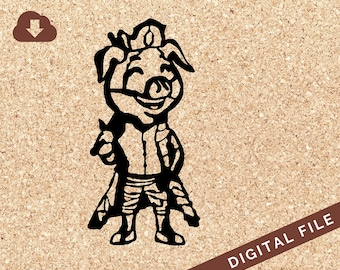 Technoblade Inspired SVG Minecraft Digital Download Pig with Cape and Crown PNG JPG Clip Art for Crafts, Projects / Personal Use Only