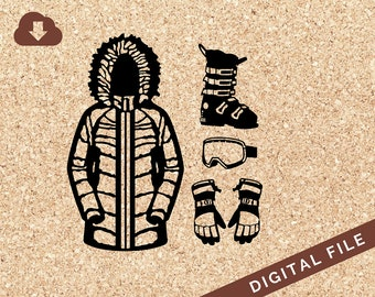 Womans Winter Parka, Gloves, Ski Boots, Ski Goggles SVG PNG JPG Vector Clip Art Great for Tshirt Design, Decals, Art Prints, Decor, Painting