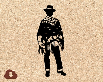 Clint Eastwood Inspired SVG Cricut Cut File Western Cowboy Movie Digital File Vector Clipart, JPG, PNG Clipart Vector Decal For Tshirt, Art