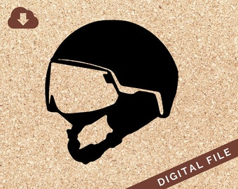 Helmet for Snow Skiing // SVG Digital Download // PNG JPG Vector Clip Art // Great for Tshirt Design, Decals, Art Prints, Decor, Painting