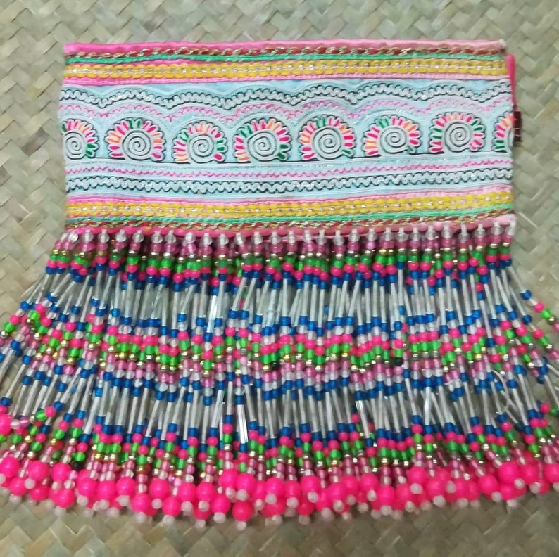 Vintage Hmong Belt Embroidery Textile  Hmong Recycled Textile image 0