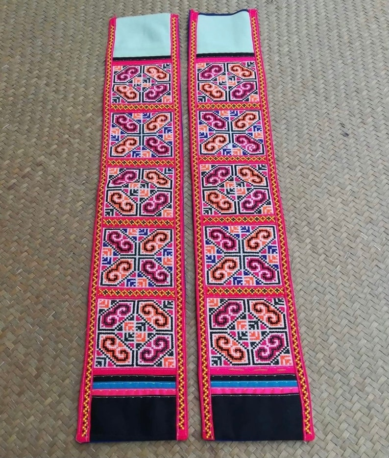 PAIR  Hill Tribe Embroidered fabric  Preowned Hmong Textile image 0