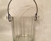 Glass Ice Bucket, Vintage Ice Bucket, Crystal Ice Bucket, Retro Glass Ice Bucket