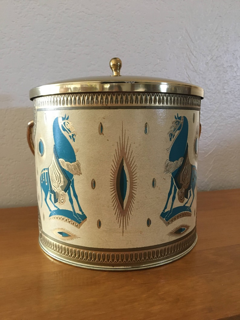 Trojan horse Aqua Tang Pattern Turquoise Fred Press Ice Bucket Chinese Horse Rubel Carnival Gold Vintage Ice Bucket Egyptian Horse