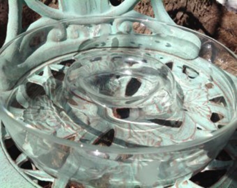 Princess House Hand Blown Etched Crystal Chip n Dip Serving Bowl Princess House Clear Crystal Chip and Dip Bowl Heritage Pattern 401