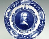 ROYAL WORCESTER Dr. John Wall. 10 inch Flow Blue Plate by Worcester Porcelain Works for Stowell Company Boston ca.1911