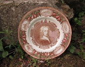 ROYAL WORCESTER Dr. John Wall Commemorative Portrait Plate, Salmon Hue. 11 Inches. Example 2