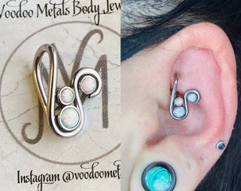 14g 16g 18g 20g Seamless Ring Rook Earring Daith Ring Gauged Earring Healing Crystal Niobium Cartilage Piercing Nickel Free Hoop