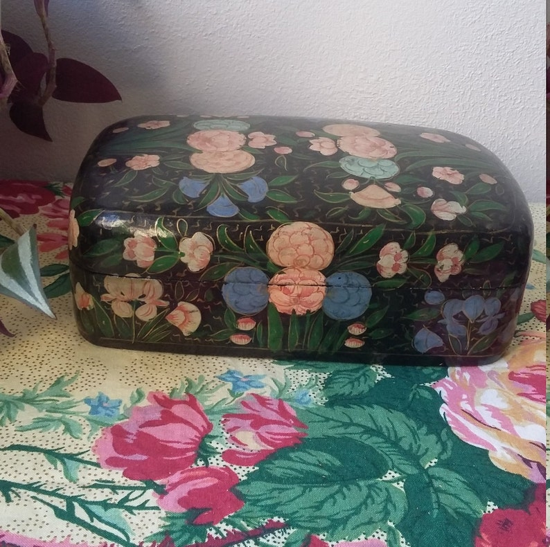 vintage Large wooden box hand painted