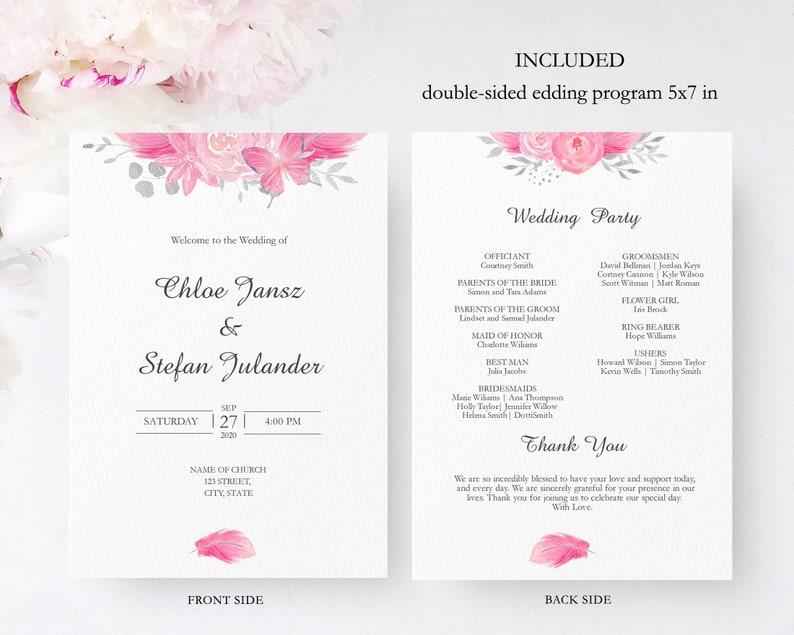 Pink Flower Wedding Program Template Floral Double Sided Fan Program Card SRP-002 Editable Printable Ceremony Program Instant Download
