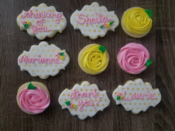 Thinking of you Thank you personalized with floral cookies
