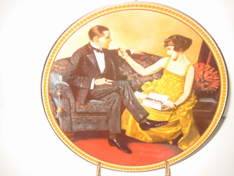 Norman Rockwell/'s Flirting In The Parlor Rediscovered Women Vintage Plate #4221-f Bradex #84-R70 4.8